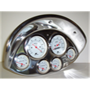 6 Gauge Set with Mechanical Speedo - white face w/ silver bezel and red pointer - includes fuel, oil, and temp sending units