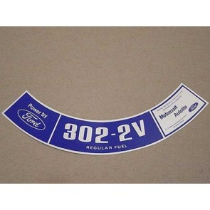 1974 302-2V REG. FUEL AIR CLEANER DECAL