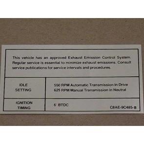 1968 302/351-4V AT/MT EMISSION DECAL