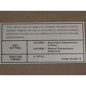 1969 240 C.I.D. AT/MT EMISSION DECAL