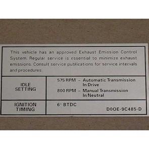 1970 302-2V AT/MT EMISSION DECAL