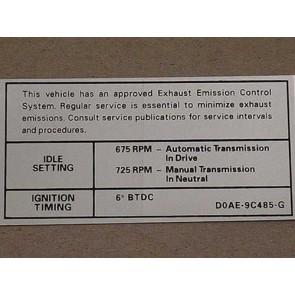 1970 390-2V REG AT/MT EMISSION DECAL