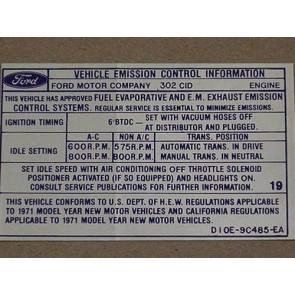 1971 302-2V AT/MT EMISSION DECAL