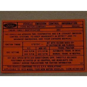 1972 302-2V AT/MT EMISSION DECAL