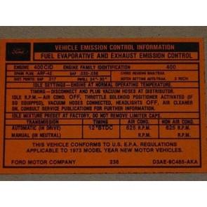 1973 400-2V AT EMISSION DECAL