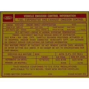 1974 400-2V AT EMISSION DECAL