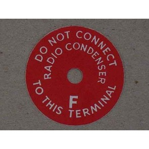 1949-55 FORD 6 VOLT GENER. WARNING TAG