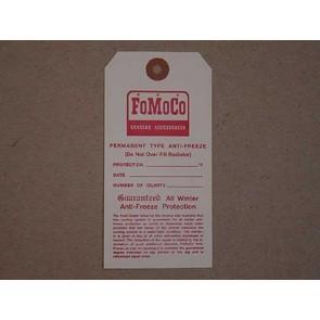 """1953-68 FORD """"FOMOCO"""" ANTIFREEZE TAG"""
