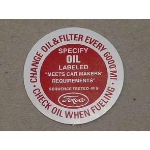 1960-64 FORD PROD. OIL FILLER CAP DECAL