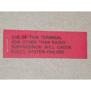 1961-69 VOLTAGE REGULATOR WARNING TAG