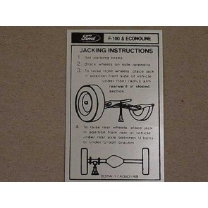 1973-74 FORD TK JACK INSTRUCTIONS