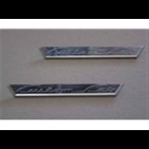"""53-56 Door Emblem Set - """"Custom Cab"""""""