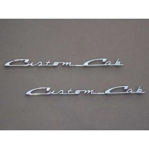 """57-60 Door Emblem Set - """"Custom Cab"""""""